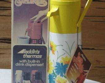 "NOS Vintage 1970's Aladdin's Pump A Drink Thermos in Original Box with Price Label  ""Floral Fantasy"""