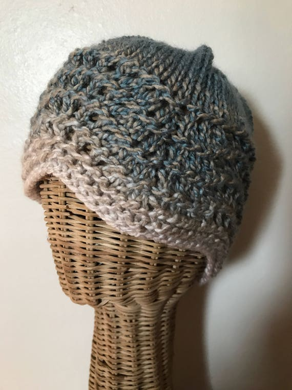 Hand knit winter waves lace blue and cream beanie ski hat