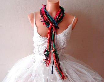 Rainbow T shirt Scarf, Knotted Skinny Scarf, Jersey Bohemian Scarf, Long Scarf t-shirt necklaces
