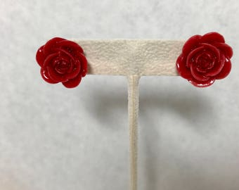 Red Rose Resin Floral Stud Earrings Doodaba