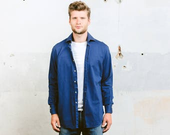 Vintage 90s Plain Blue Shirt . Men's Minimalist Shirt Cotton Shirt Navy Blue Button Down 1990s Flannel Shirt . size Medium