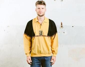 Summer Outdoors Shirt . Aztec Southwestern Polo Shirt Oversized Shirt Graphic Print Long Sleeve Shirt Yellow Black Mens Shirt . size Large