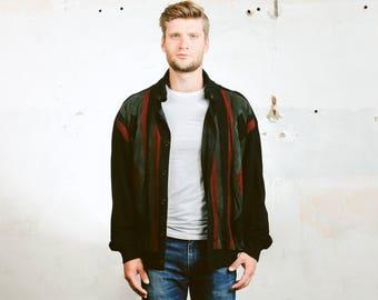 Men's Jacket . Geometric Bomber Jacket  Oversized Vintage 80s Abstract Print 90s Grunge Leather Coat Outerwear. size Extra Large XL