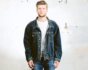 Oversized DENIM Jacket . Vintage 80s Men's Trucker Jacket Jeans Jacket Dark WASH Blue Denim Distressed Faded Stonewashed . size XXL