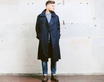 Men Trench Coat . Vintage Navy Blue Detective 80s Rain Coat Film Noir Topcoat Vintage 1980s Long Duster Jacket Outerwear . size Large
