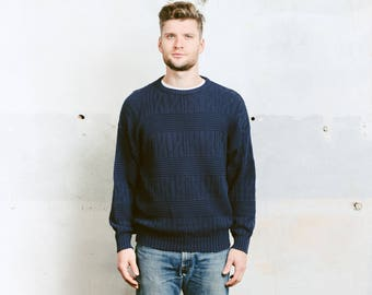 Men's Vintage Sweater . Cable Knit Navy Blue Sweater 90s Grunge Sweater Crew Neck Aran Braided Cable Knit Cotton Knitwear . size Medium