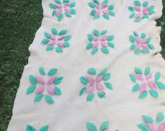 vintage 50s Afghan Blanket Large Handmade Vintage WOOL Crocheted  large pink flowers granny squares  56 x 74 in