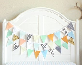 Fabric Bunting , Boy Baby Shower Banner, Bunting Garland, Mint and Arrows, Garland, Boy Nursery Decor, Bunting Banner, Mint and Gold Nursery