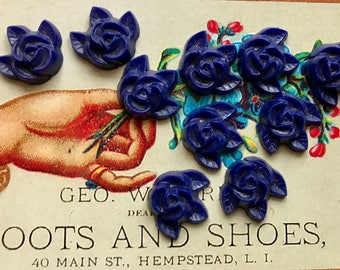 Vintage Rose Cabochons, acrylic Flowers, Blue Flower cabochons, vintage,Findings, Lot Flower NOS Scrapbooking Components #1161F