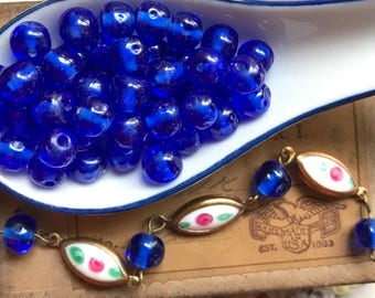 50 Vintage Cherry Brand, Miriam Haskell Glass Beads 7mm Sapphire Dimpled, Necklace Beads, Baroque Beads, vintagerosefindings #B66
