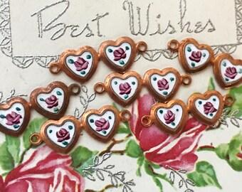 Vintage Heart Connectors, Guilloche heart connectors,Enamel charm,hand painted rose,Victorian,Ornate heart charm, Rose NOS #G46C