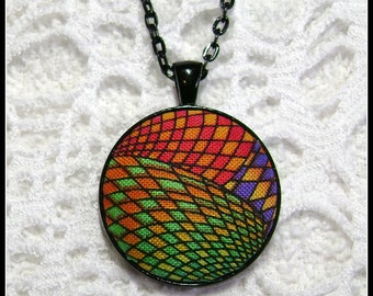 Fabric Pendant - Artsy Jewelry - Fiber Art - FP68
