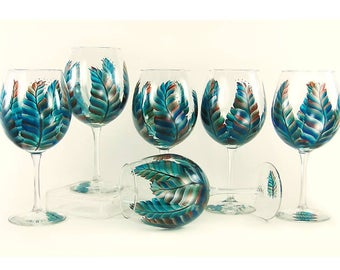 Bridesmaids' Wine Champagne Glasses 8x Personalized - Hand Painted Feathers in Turquoise, Copper, Silver - Wedding Host Gift Ideas