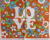Linen Tea Towel Chris Bash LOVE Novelty Collectible New 1970's Flower Power Hippie vintage