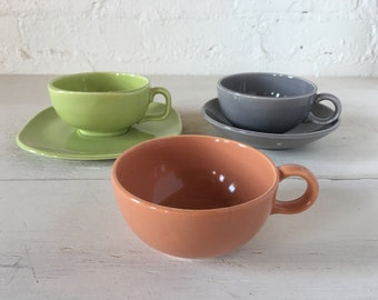 Mixed Set of 3 Mid Century Tea Cups with Two Saucers - Tea Cup, Coffee Cup, Vintage Cups