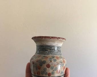SUMMER SALE 70s Handmade Mexican Pottery Vase •