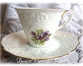 Crown Dorset Fine Bone China Tea Cup and Saucer Lavendar Purple Vintage Tea Cup Staffordshire England