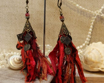 Bejeweled Upcycled Sari Silk Scrap Earrings - Red and orange - Belly Dance Urban Gypsy Goddess BoHo By White Raven Designs