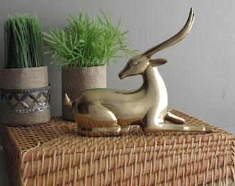 vintage book shelf decor- Brass Ibex - Antelope- deer -home decor - brass
