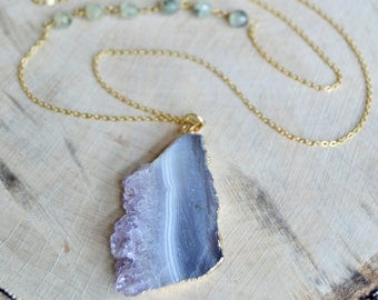 Amethyst Slice Pendant Necklace. Long gold necklace.