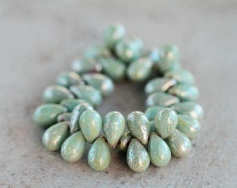 Mottled silver sage teardrop beads, Czech glass beads, 6x9mm drop beads, fringe glass beads,  (50pcs) NEW
