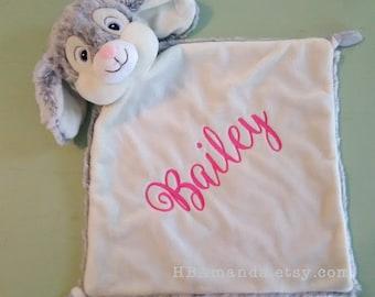 Gray Bunny Rabbit Blanket - Monogrammed Rabbit Blankie - Bunny Lovey - Personalized Bunny
