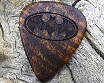 Wood Guitar Pick - Premium Handmade Quality - Hawaiian Curly Koa - Laser Engraved On Each Side - No Stock Photos - Actual Pick