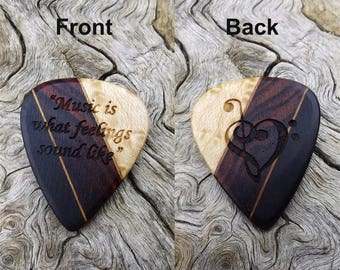Handmade Multi-Wood Guitar Pick - Premium Quality - Laser Engraved On Each Side - Actual Pick Shown - Artisan Guitar Pick
