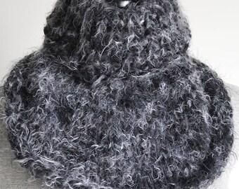 SALE - Gray Kitten White Black Color Silky Soft Fuzzy Knitted Cowl Collar Gaiter Turtleneck
