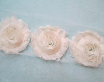 Ivory Shabby Flowers, Off White Chiffon Rose Trim, Ivory Wedding Flower Supplies, DIY Fabric Flowers for Jewelry, Bridal Garters, Headband