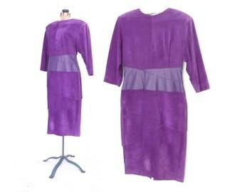80s Leather Dress * Vintage Pencil Dress * 1980s Grape Suede Dress * Large