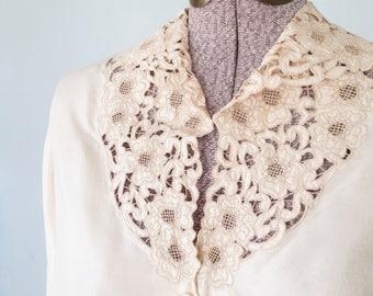 1940s Blouse * Lace Silk Blouse * 40s Silk Shirt * Medium