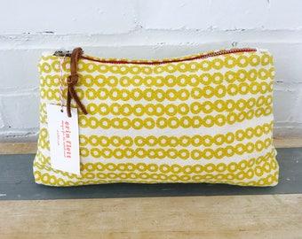 Golden Rod Deco Dot clutch zipper bag, Ready To Ship Now