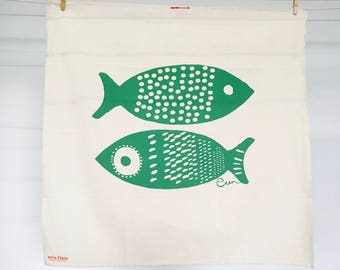 Green Double Tuna Tea Towel - READY TO SHIP