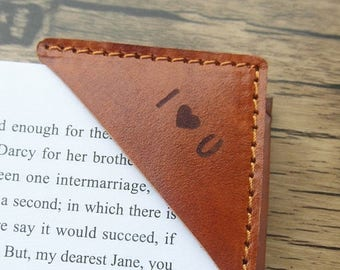 Valentines Sale 20% off- Brown Leather Bookmark, Personalized Bookmark, Engraved Leather Book Corner, Booklover gift