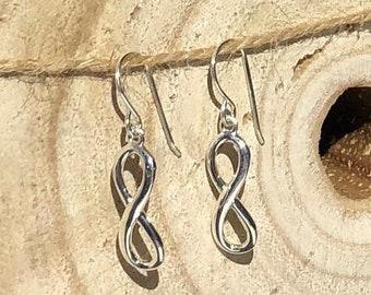 Silver Infinity Dangle Earrings