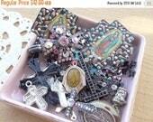 Sale 30% Off Religious, Cross, Saint, Vintage Jewelry Destash Lot. Cross Findings.  Vintage Pendants. Charms. Saint  TM Italy Pendant D161