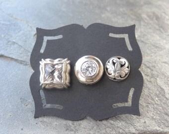 Vintage Sterling Studs - Sterling - Mismatched Earrings - Single - Post Earrings - Rhinestone - Filigree Heart - Round Post Earrings