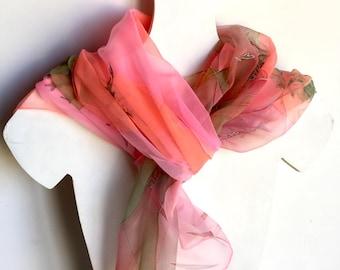 Silk scarf''FLUORESCENT GARDEN'' hand painted silk scarf,deep green leaves into fluorescent pink orange skies,luxury silk shawl, Gift idea
