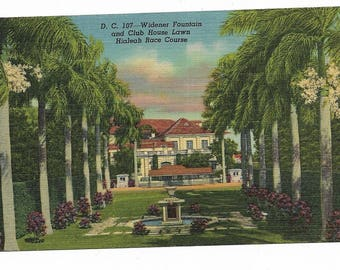 Vintage Florida Linen Postcard Widener Fountain and Club House Lawn Hialeah Race Course Miami UNUSED
