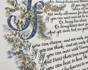 If, by Rudyard Kipling, By Hand, Calligraphy Custom, Made to Order, Original 11x17
