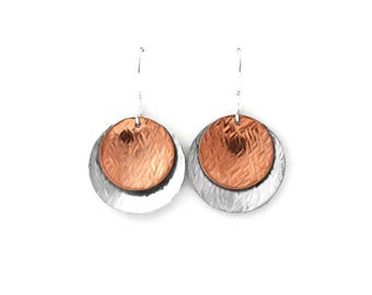 Hammered Silver and Copper Disc Earrings, Hammered Silver, Hammered Copper, Rustic Jewelry, Disc Earrings, Dangle Earrings, Circle Earrings