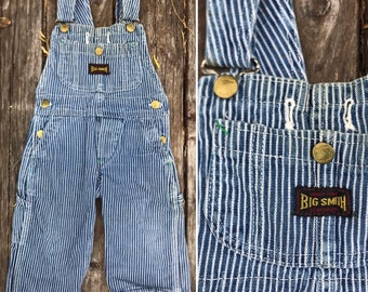 Vintage 60s BIG SMITH railroad stripe toddler overalls / 1960s kids overalls / soft and worn in / union made sanforized / 12 to 24 months 2T