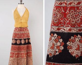 Vintage 70s indian cotton block print wrap skirt / natural earth tones / Classic bohemian hippie wrap skirt