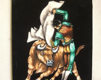 Vintage Bull Fighter Painting on Black Velvet, Matador, Original Fine Art, Handmade, Hand Painted, Bovine, Bull, Sports Portrait, Male