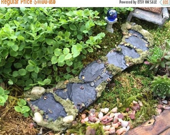 SALE Miniature Stone Moss Path, Walkway, Fairy Garden Accessory, Garden Decor, Miniature Gardening