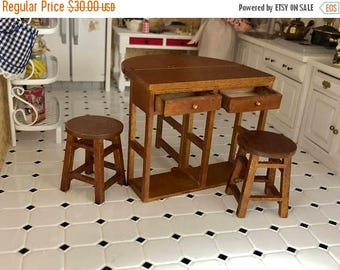 SALE Miniature Breakfast Table and Stool Set, Fold Out Wood Table With Drawers, Bottom Shelf & Stools, Dollhouse Miniature Furniture, 1:12 S