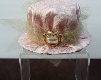 Steampunk Mini Hat Fascinator- Gold and Pink