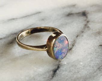 Vintage Sterling Artisan Made Oval Fire Opal Ring size 7 1/4