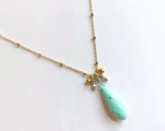 Two tone turquoise necklace